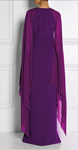 Evening Gown Dress Prom Formal Women's Chiffon Purple Long Sleeve Cape Jaycargogo qHUzxnwn