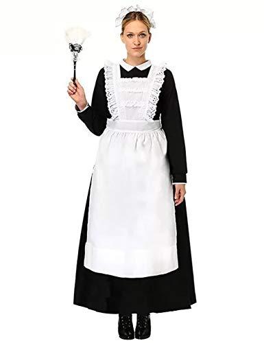 ShiyiUP Vintage Traje ded Sirvienta Delantal de Mucama Vestido de Loita para Mujeres para Halloween Fiesta de Canaval