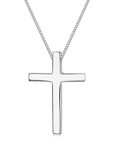 Sllaiss 925 Sterling Silver Cross Necklace For Men Women Christian Jewelry Cross Pendant Necklace 18 Inch Silver Tone