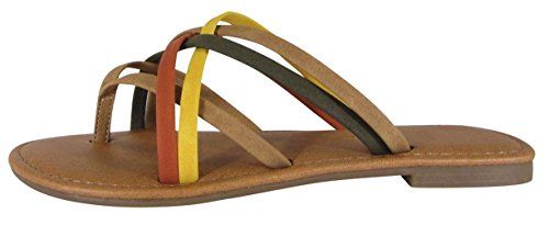 Cambridge Select Dames Kriskras Strappy String Slip-on Platte Schuif Sandaal Lichtbruin Multi Nbpu