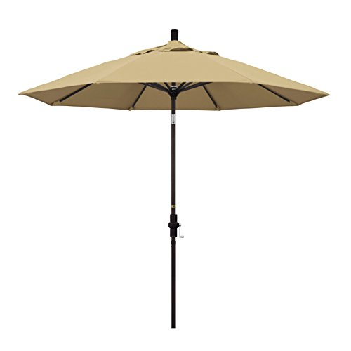 California Umbrella 9' Round Aluminum Market Umbrella, Crank Lift, Collar Tilt, Bronze Pole, Sunbrella Heather Beige