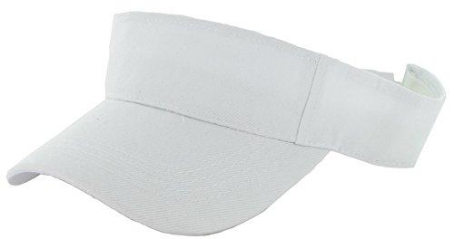 WALLER PAA Visor Sun Plain Hat Sports Cap Colors Golf Tennis Beach New Adjustable Men Women (White)