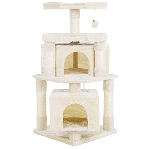 BEWISHOME Corner Cat Tree Condo with Sisal Scratching Posts Perches Houses, Cat Tower Furniture Kitty Activity Center Kitten Play House Beige MMJ04M