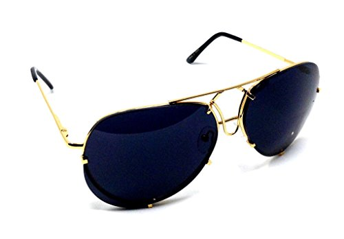 XL Oversized Turbo Floating Lens Aviator Sunglasses (Gold Metallic Frame, Black Super - Sunglasses Metallic