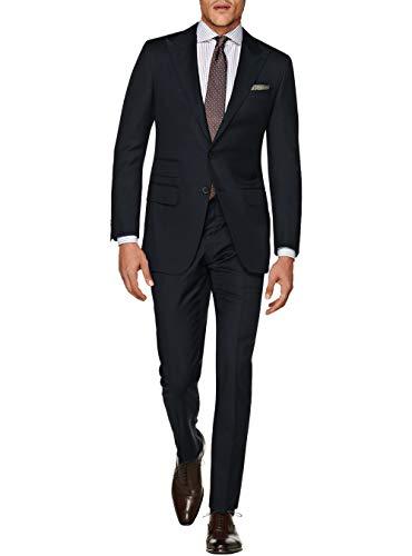 DTI GV Executive Men's Italian Two Button Wool Suit Set Ticket Pocket Jacket (42 Regular US / 52R EU/W 36