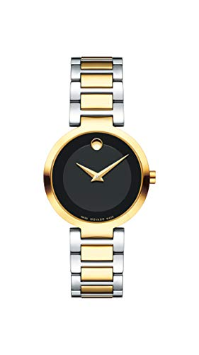 - Movado Women's Modern Classic Two Tone Watch with Concave Dot Museum Dial, Black/Gold (Model 607102)