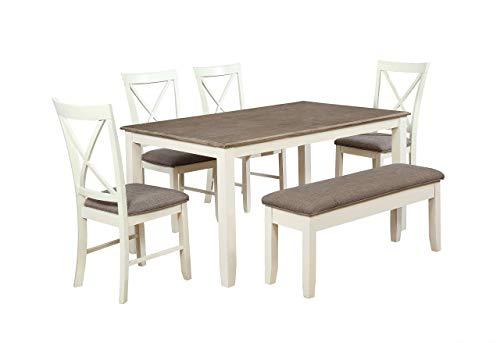 (Powell's Furniture 15D8153PC6 Jane 6 Piece Dining Set, Antique White)