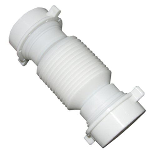 Flexible Plumbing Pipe - LASCO 03-4355 White Plastic Tubular 1-1/2-Inch Slip Joint Coupling Flexible and Extendable with Nuts and Washers
