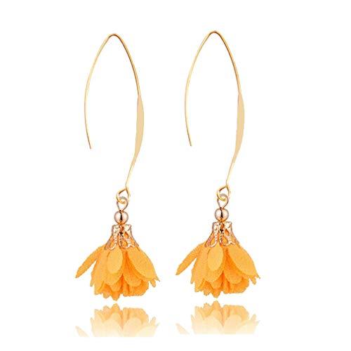 JUESJ Elegant Long Fabric Flower Pendant Ear Hook Earrings for Women Girls Party Gifts (Yellow)