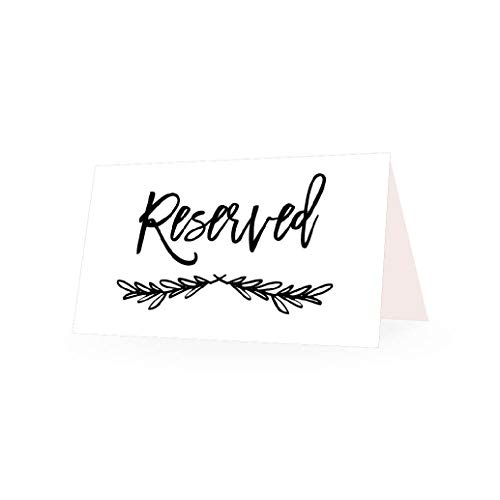 25 VIP Reserved Sign Tent Place Cards For Table at Restaurant, Wedding Reception, Church, Business Office Board Meeting, Holiday Christmas Party, Printed Seating Reservation Accessories DIY Seat White