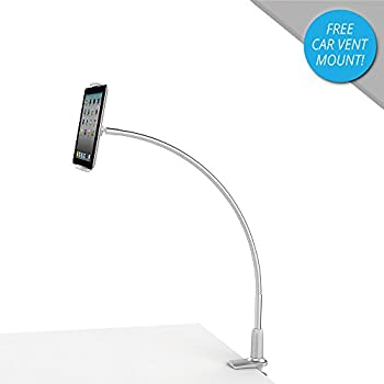 """Mingo Adjustable Gooseneck iPad Tablet Holder & Flexible Desk Mount Stand for Office, Bed, Kitchen - Fits 3""""-10"""" Devices Including iPhone 5 6 7, iPad Mini 2 Air Pro - Heavy Duty Aluminum (Silver)"""