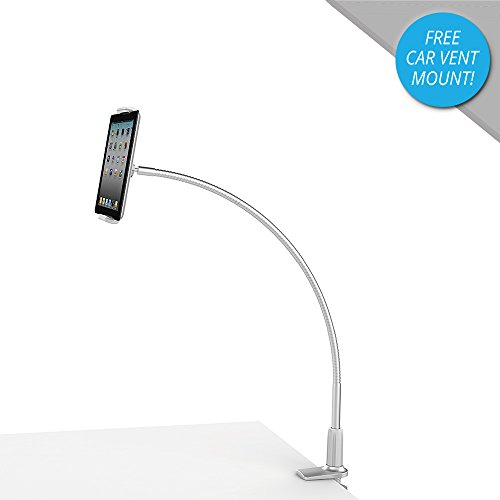 Mingo Adjustable Gooseneck iPad Stand & Tablet Holder for Bed, iPad Holder for Desk, iPad Mount - Fits 3-10 Tablet | iPhone 6 7 8, iPad Mini, Samsung Tablet, iPad Pro - Heavy Duty Aluminum (Silver)