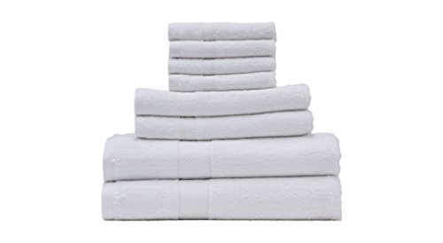 Oasis Luxurious Premium Bamboo Cotton 8PC Towel Set (White) for Hotel, Pool, Spa, and Bath; 2 Bath Towels (27x56), 2 Hand Towels (18x32), 4 Washcloths (13x13); Superior Softness and High Absorbency