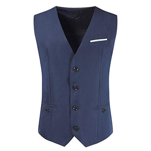 (Gutori Men's Waistcoat Formal Business V-Neck Solid Dress Suit Vest Tuxedo Jacket Navy)