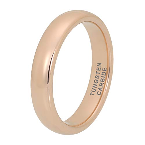iTungsten 4mm Rose Gold Tungsten Rings for Men Women Wedding Bands Domed Polished Shiny Comfort Fit