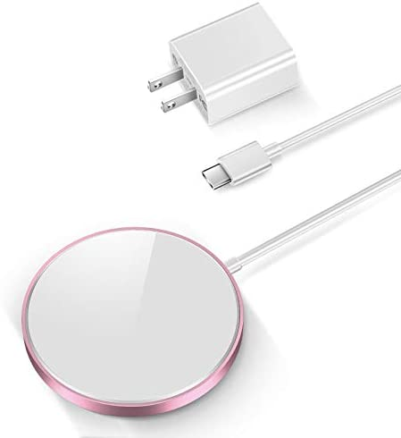 THREEKEY Magnetic Wireless Charger, 15W Fast Charging Pad with USB-C 20W PD Adapter, Compatible with MagazineSafe Wireless Charger for iPhone 12/12 Mini/12 Pro/12 Pro max/AirPods 2/Pro, Rose