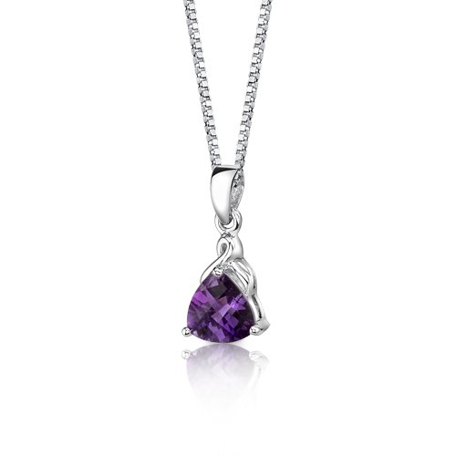 Amethyst Pendant Necklace Sterling Silver Trillion Cut 1.50 Carats