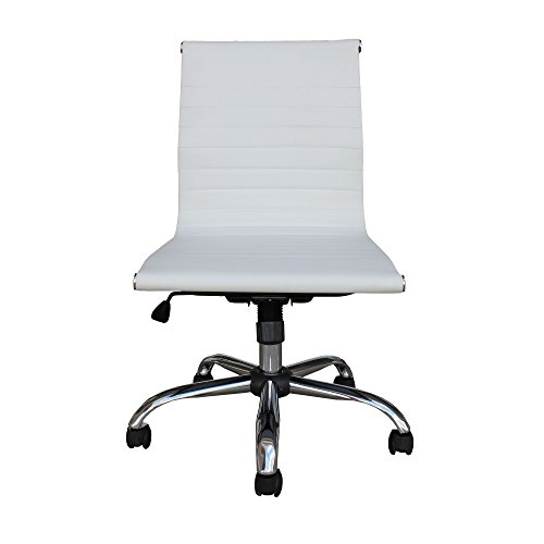 Mid-Back Leather Office & Home Conference, Desk, Task Chair MZN-6160 (WHITE)