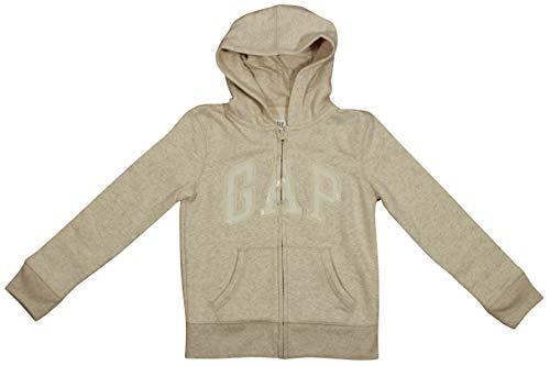 (GAP Girls Zip up Fleece Arch Logo Hoodie (Medium, Beige))