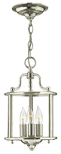Hinkley 3470PN Traditional Three Light Foyer from Gentry collection in Chrome, Pol. Nckl.finish,