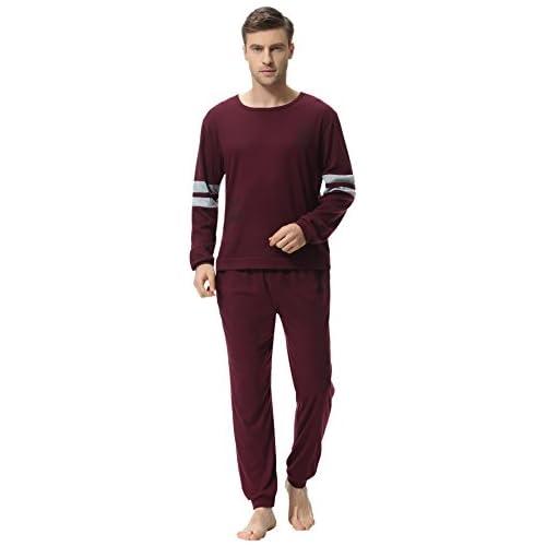 chollos oferta descuentos barato Aibrou Clásico Pijamas Hombre Invierno Algodon Mangas Pantalones Largos Set Suave Cómodo