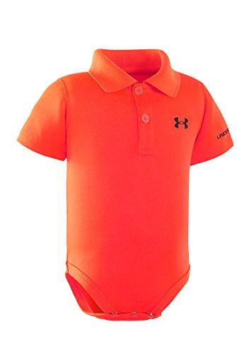 Under Armour Baby-Boys Newborn Yarn Dye Polo Bodysuit (0-3 Months, Orange Blaze (86) / Black/Orange Blaze) Collection Under Armour