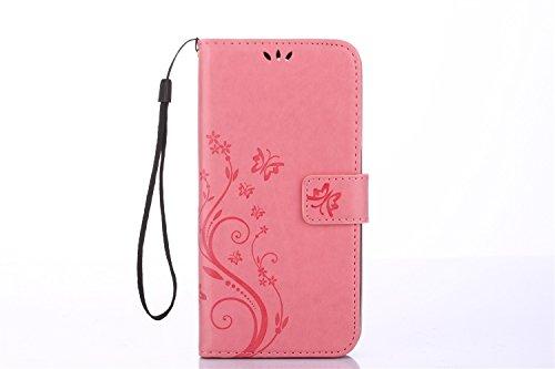 YAJIE-Carcasa Funda Para el caso Huawei P10, caja de cuero en relieve de la cartera del tirón del cuero de la PU del diseño de la flor de la mariposa ( Color : Rose ) Pink