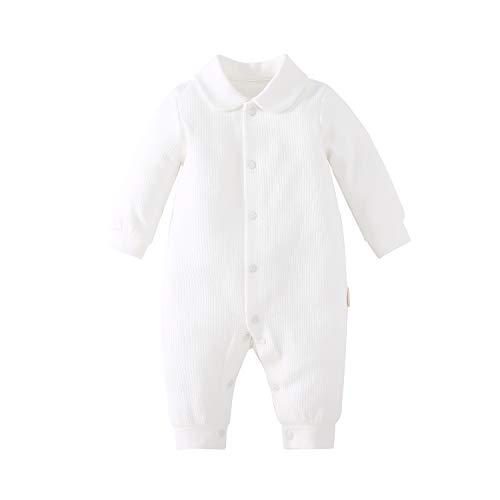 pureborn Unisex Baby Collared Solid Baptism Cotton One-Piece Jumpsuit White 6-9 Months