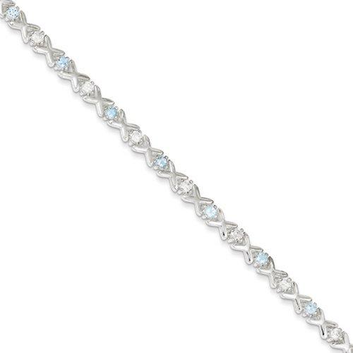 Icecarats Créatrice De Bijoux En Argent Sterling Bracelet Topaze Bleue Cz De 7 Pouces