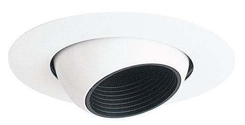 Juno Lighting 448-WH 4-Inch Eyeball Recessed Trim, Black Baffle with White Trim