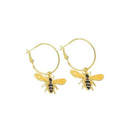 WLLAY Women's Fashion Honey Bee Enamel Hoop Dangle Earrings Trendy Yellow Bumble Bee Earrings Gold-Tone