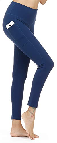 LifeSky High Waist Yoga Pants with Pockets Tummy Control 4 Way Stretch Workout Pants Womens' Active Leggings (9853 Dark Blue, Large)