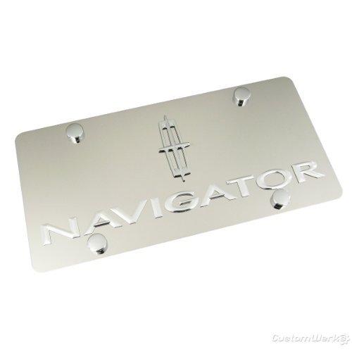 Lincoln Navigator Chrome Logo + Name On Polished Chrome License Plate