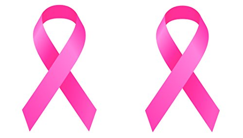 Pack of 2 Best Large Pink Ribbon Support Breast Cancer Awareness Survivor Auto Decal Bumper Sticker Vinyl Decal For Car Truck Van RV SUV Boat Window For Women Mom Grandmother (2 Pack)