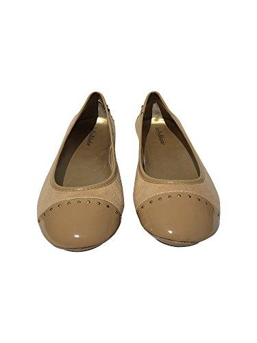 Women's Cap Toe Canvas Nude Flats (Beige 6) (Stella Flat Iron)