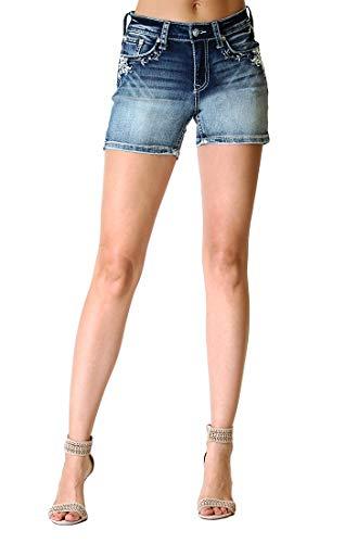 Grace in LA Women's Easy Fit Silver Americana Embellished Denim Shorts | EH-71101