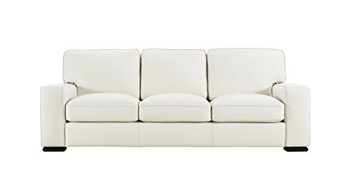Matera Cream Leather Stationary Sofa (Natuzzi Italian Leather Furniture)