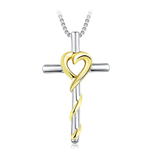 GEORGE · SMITH 925 Sterling Silver Cross Pendant Necklace Love Heart Jewelry Graduation Gifts for her