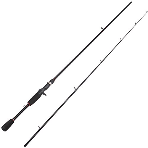 Fiblink 6'6″ Freshwater Graphite 2-Piece Medium Casting Baitcasting Fishing Rods, 8-14-Pound Test For Sale