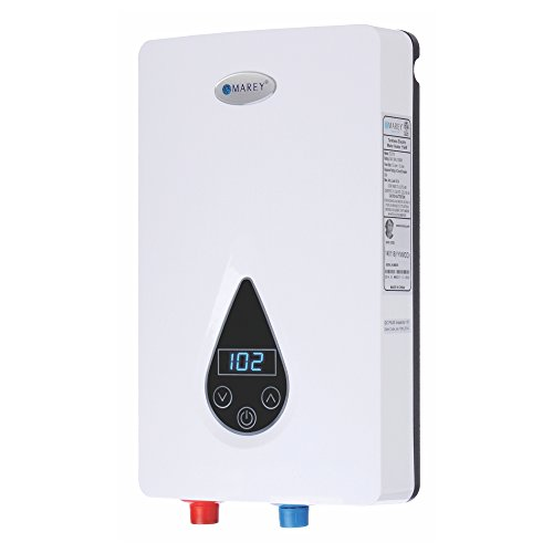 Marey ECO150 220V/240V-14.6kW Tankless Water Heater with Smart Technology, Small, White (Tankless Water Heater Electric)