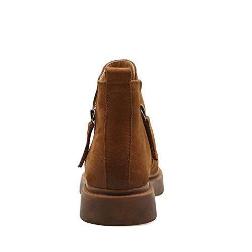 botas Zapatos plano comodidad Marrón de Brown HSXZ Casual combatir mujer botas cuero de Mid otoño de Cuero Negro tacón primavera Nubuck Calf botas qxdO4da