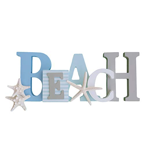 (Wooden Beach Word Sign with Trio of Loose Starfish - Tropical Beach Home Decor)