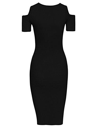 HRYfashion Damen modisches Bodycon-Kleid Schulteraussparungen Schwarz ITIyhuCQ