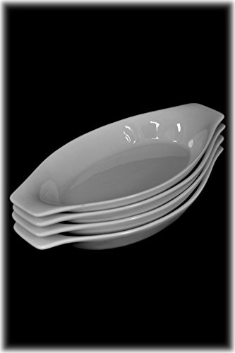 Set 4 Mini Oval Oven-Safe White Porcelain Appetizer Au Gratin Dishes with Handles by American Chateau (Image #1)