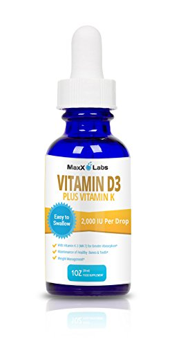 Vitamin D3 Liquid Drops with Vitamin K2 MK7 ★ New ★ Full 2000IU Per Drop - Vitamin D 2000 IU Effective, Safe - 4-5 Times Stronger Than Other Brands - 900 Doses in 1 Oz Dropper Bottle
