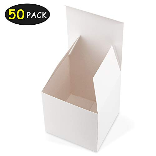 HAISEN White Gift Boxes 4x4 x4 inches 50Pack Paper Gift Boxes with Lids for Gifts, Crafting, Cupcake Boxes -