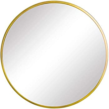 FANYUSHOW Round Mirror for Bathroom, Gold Circle Mirror for Wall Mounted, 19.7'' Modern Brushed Brass Metal Frame Round Mirror For Wall Decor, Vanity, Living Room, Bedroom