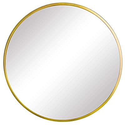 FANYUSHOW Round Mirror for Bathroom, Gold Circle Mirror for Wall Mounted, 19.7'' Modern Brushed Brass Metal Frame Round Mirror For Wall Decor, Vanity, Living Room, Bedroom - Stylish aluminum frame: Wheel-shaped aluminum frame not only adds to the look of this large wall mirror, but also doubles as a protective bumper, great for bathroom mirror, entrance mirror, vanity mirror, living room mirror, etc. Modern and Simple design: Diameter of this classic metal frame circle mirror is 19.7 inch with an alloy metal sleek frame, floating round glass panel Decorative and Boosts Light: If you're living in a smaller space, this large round mirror can trick the eye into making it appear larger, helping light bounce around the room, visually expanding the space, while serving as functional wall art - mirrors-bedroom-decor, bedroom-decor, bedroom - 31n7tLYrtaL. SS400  -