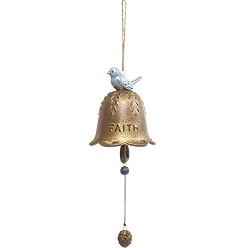 Garden Gifts by Precious Moments Faith With Blue Bird Ceramic Hanging Bell Windchime Indoor/Outdoor Garden Décor ()