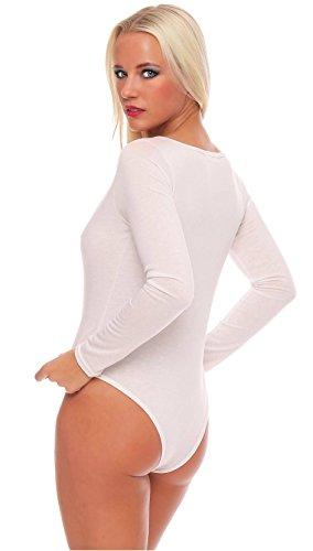 langärmeliger Langarm-Body Damen * S M L XL * versch Farben Langarmbody Bodysuit langarm Unterwäsche einfarbig (creme 900689 Gr. XL)